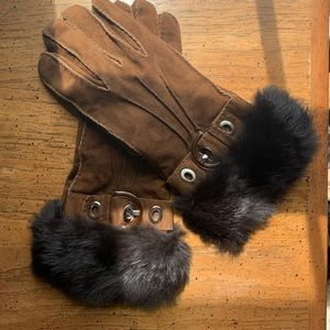 COACH Suede Leather and Cashmere Gloves